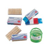 Plastic and wooden pegs